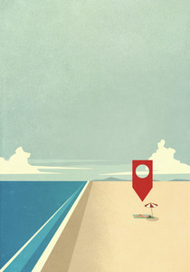 Map pin icon above woman laying on sunny ocean beach