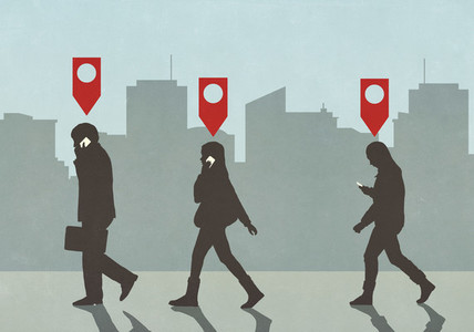 Map pin icons above business people walking and talking on smart phones in city
