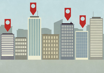 Map pin icons above highrise buildings in city