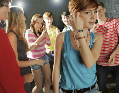 Teenagers dancing at party