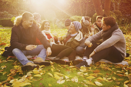 Friends hanging out and enjoying picnic in sunny autumn park