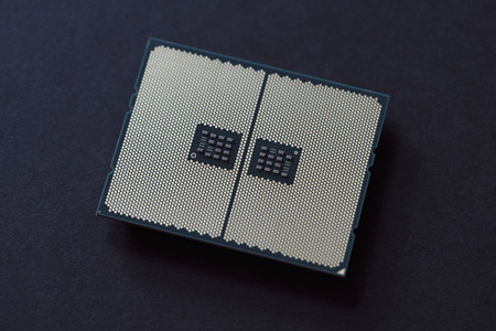 CPU with land grid array on black background