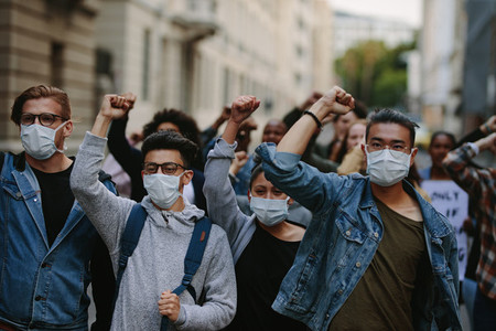 People marching together in a protest