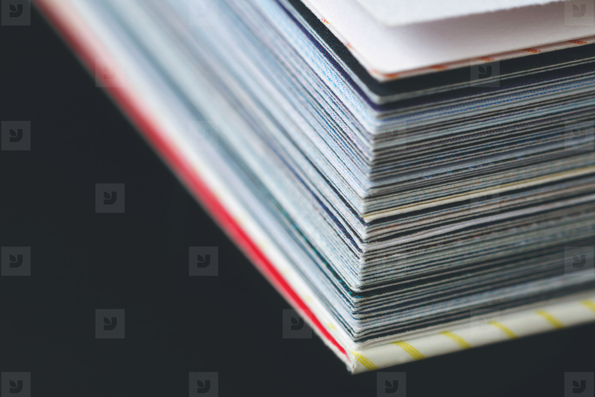 Close up of pages of book  Abstract background  Macro shot