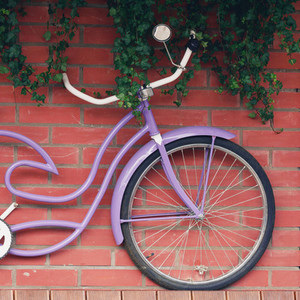A lilac vintage bicycle hangs on a brick wall Decor concept