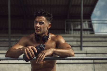 Sportsman taking break from exercising