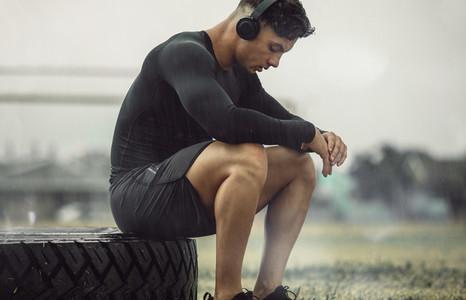 Athlete resting after intense cross training