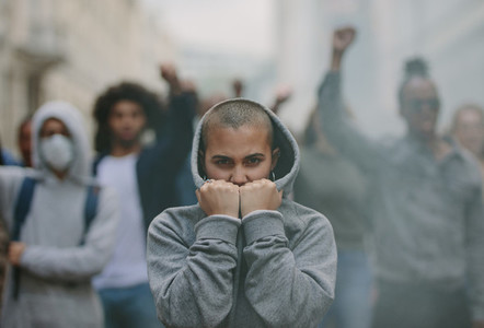 Social activists protesting silently