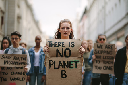 Students demonstrating against climate change