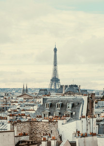 Beautiful panoramic view of Paris with Eiffel Tower Vintage toned image
