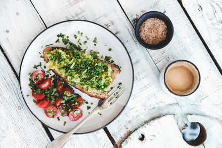 Healthy Vegan meal with avocado toast and coffee  top view