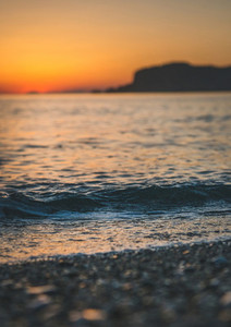 Colorful sunset at beach in Alanya Turkey