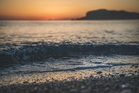 Golden sunset at beach in Alanya Turkey
