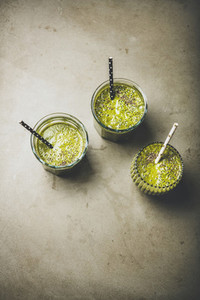 Vegan green vegetable and fruit smoothies with chia seeds