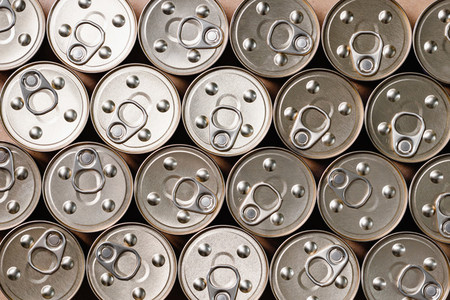 Background of canned food top view