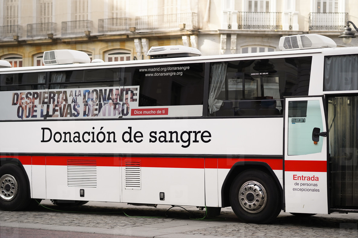 MADRID  SPAIN   JANUARY  23RD  2020 Red cross bus located in Madrid  encourages people to donate blood
