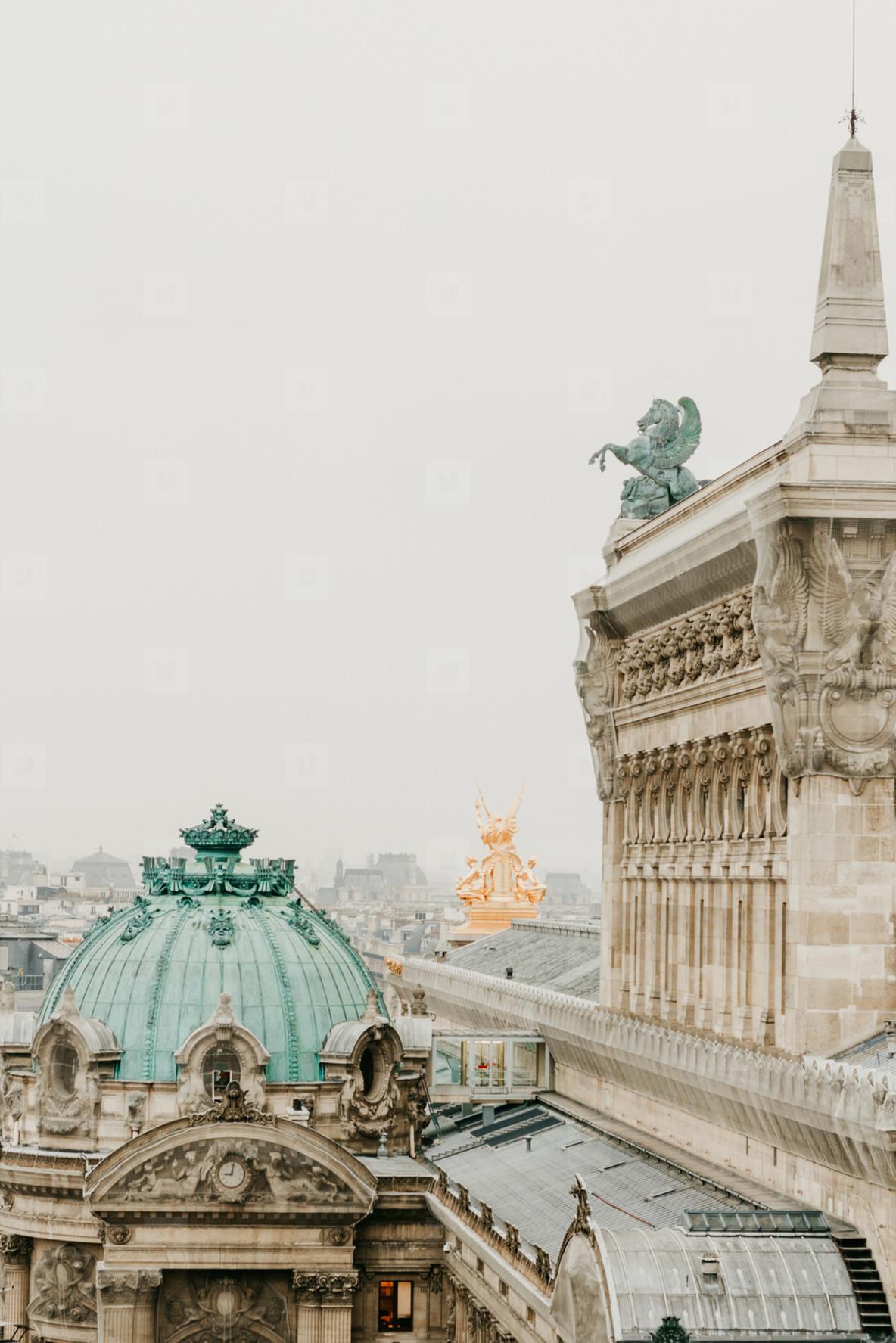 Cloudy Paris with grey sky