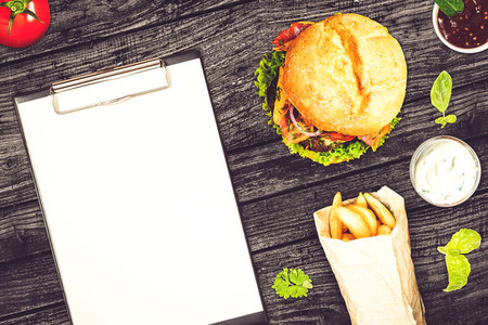 Blank fast food menu on a restaurant table