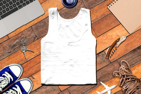 Travel top view mockup