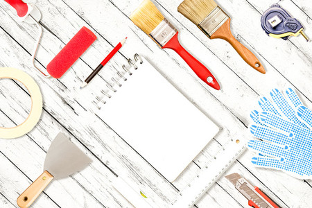 Work tools on desk top view