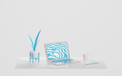 Home Office 3D Illustration