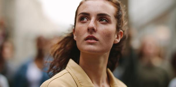 Woman activist looking away