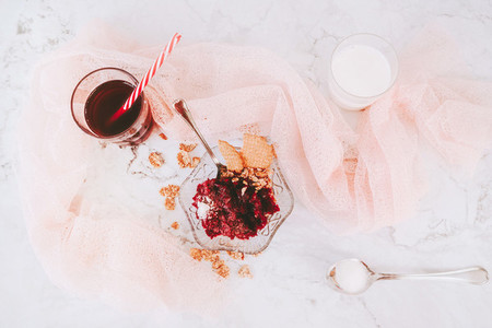 Beautiful flat lay of sweet dessert  milk and juice