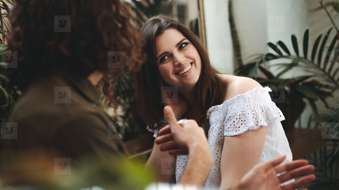 Woman smiling on a date