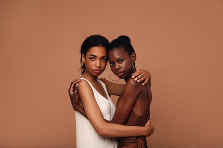 Two diverse women friends