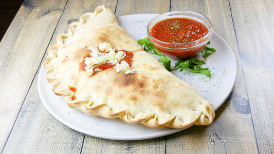 Calzone on a restaurant table