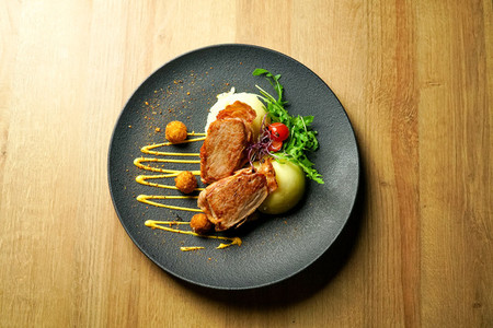 Chicken dish on a restaurant table