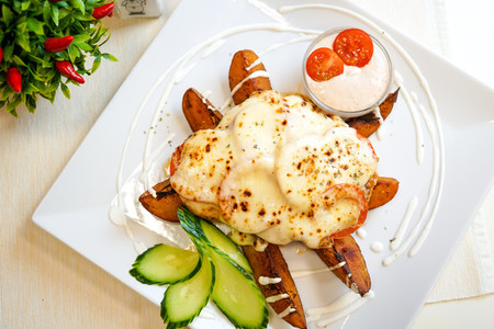 Main course in a restaurant