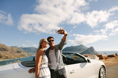 Couple making memories during their road trip