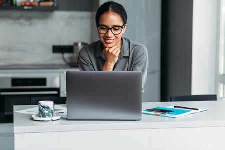 Female entrepreneur working