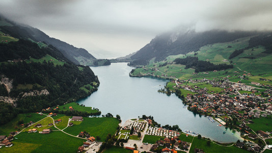 Switzerland Landscape view from above