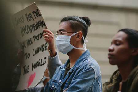 Young people on a silent protest