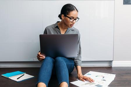 Female entrepreneur sitting down