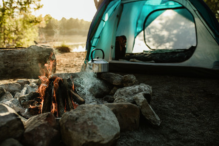 Campsite with tent and fire pit