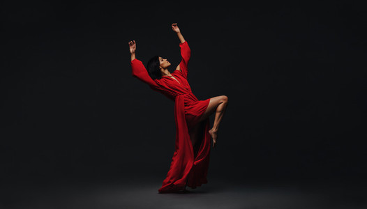Woman dancing in studio