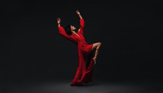 Woman dancing in studio
