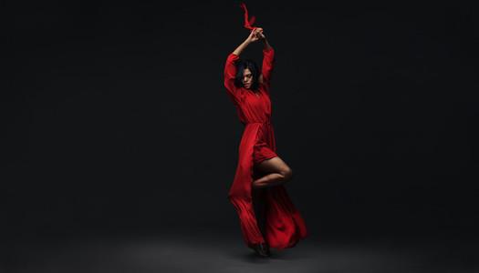 Elegant woman dancing contemporary dance