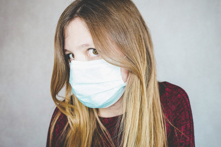 Young woman wearing a protective face mask