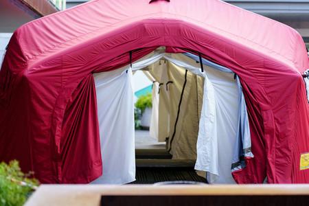 GRANADA SPAIN 23RD APRIL 2020 Temporary disinfection tent