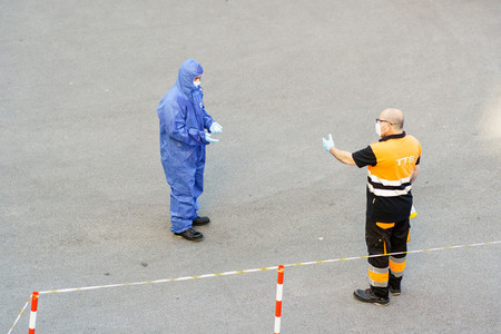 GRANADA SPAIN 23RD APRIL 2020  Healthcare people protected by personal protective equipment