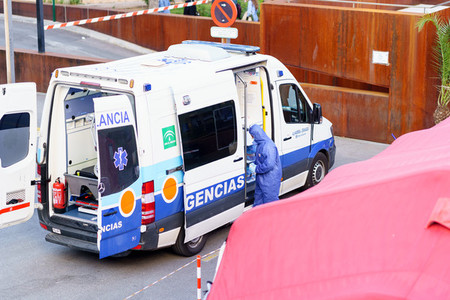 GRANADA SPAIN 23RD APRIL 2020  Ambulance at the door of the hospitals emergency service