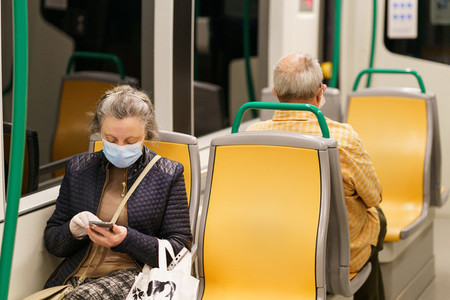 GRANADA  SPAIN  23RD APRIL  2020 People wearing mask in the train during the Covid 19 pandemic