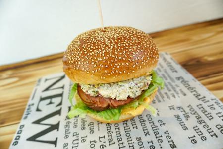 Meaty hamburger in a restaurant