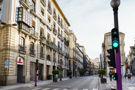GRANADA  SPAIN  23RD APRIL  2020 View of the Reyes Catolicos street empty of people