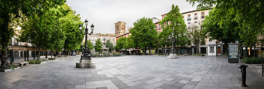 GRANADA  SPAIN  23RD APRIL  2020 Panoramic view of the Bibarrambla square empty of people