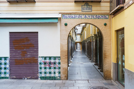 GRANADA  SPAIN  23RD APRIL  2020 View of the Alcaiceria street empty of people